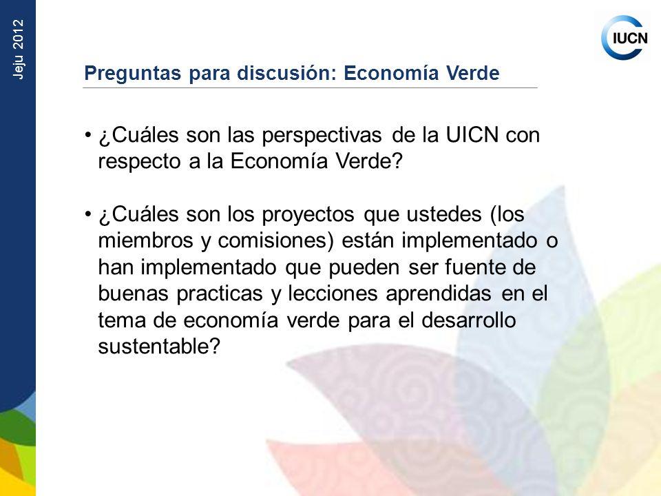 Preguntas para discusión: Economía Verde
