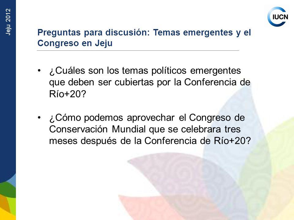 Preguntas para discusión: Temas emergentes y el Congreso en Jeju
