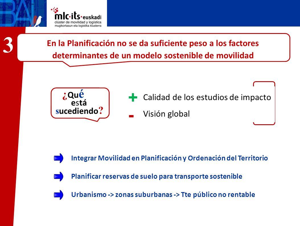 3En la Planificación no se da suficiente peso a los factores determinantes de un modelo sostenible de movilidad.