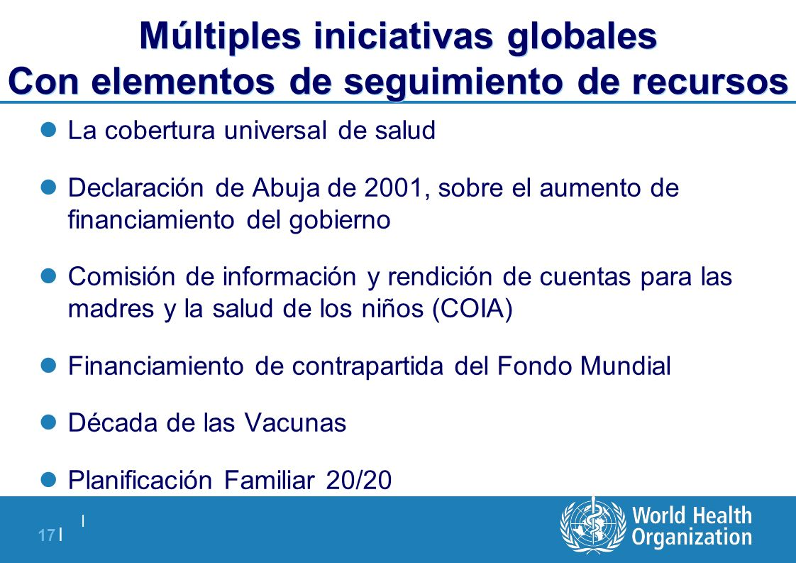 Múltiples iniciativas globales Con elementos de seguimiento de recursos