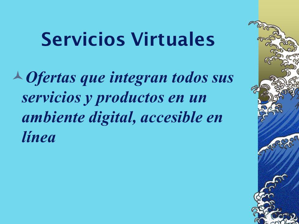 Servicios VirtualesOfertas que integran todos sus servicios y productos en un ambiente digital, accesible en línea.