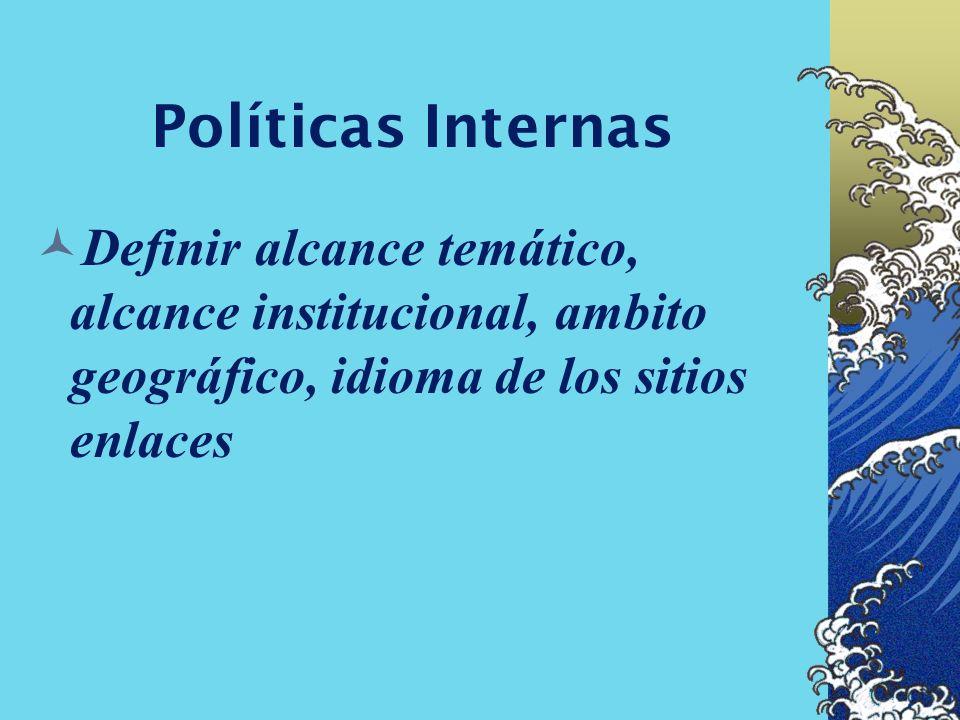 Políticas Internas Definir alcance temático, alcance institucional, ambito geográfico, idioma de los sitios enlaces.
