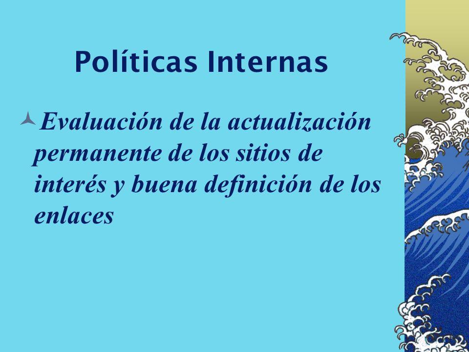 Políticas Internas Evaluación de la actualización permanente de los sitios de interés y buena definición de los enlaces.