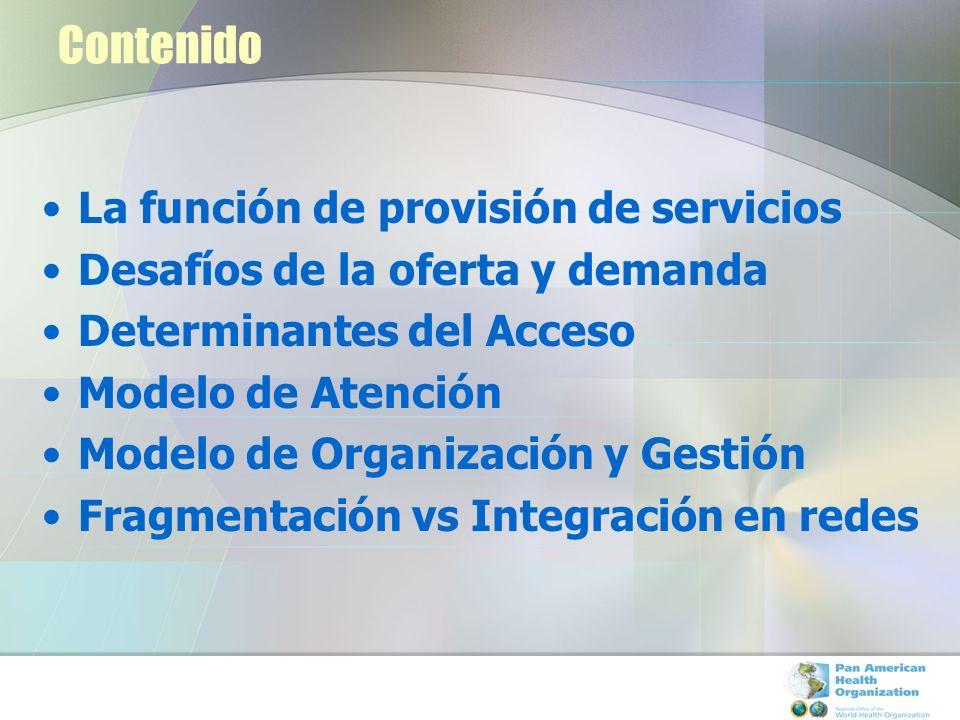 Contenido La función de provisión de servicios
