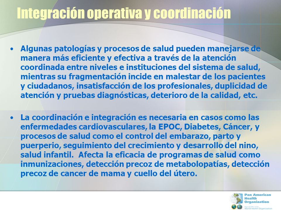 Integración operativa y coordinación