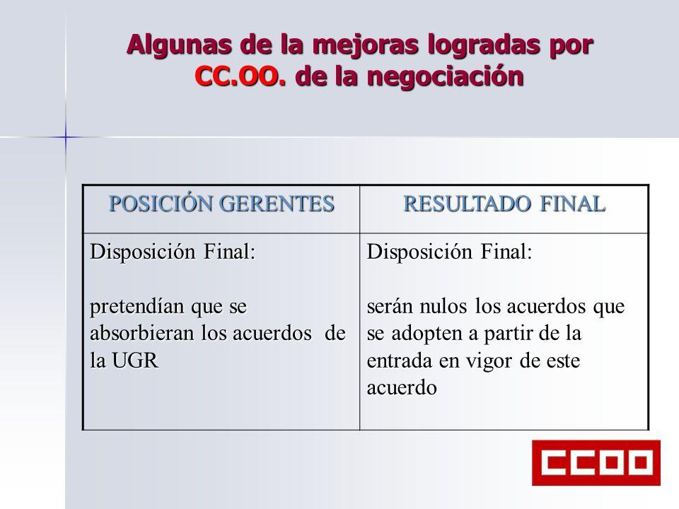 Algunas de la mejoras logradas por CC.OO. de la negociación