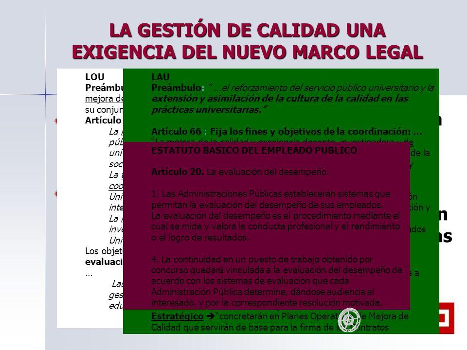LA GESTIÓN DE CALIDAD UNA EXIGENCIA DEL NUEVO MARCO LEGAL