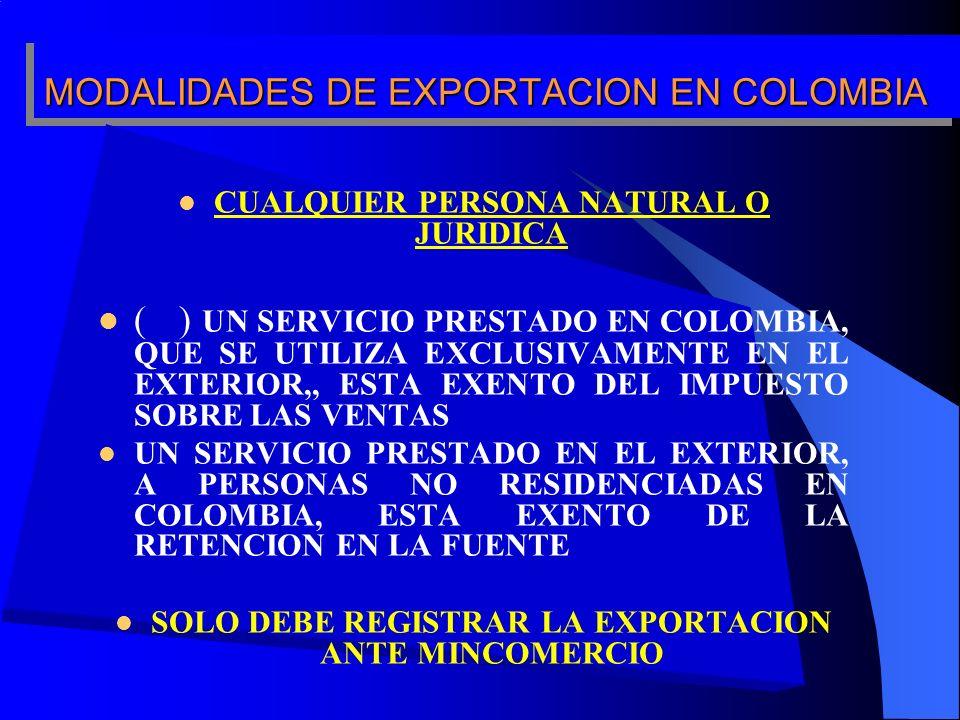 MODALIDADES DE EXPORTACION EN COLOMBIA