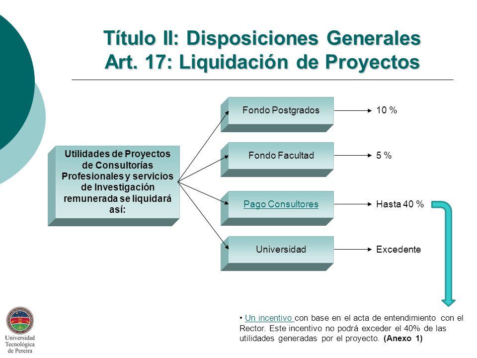 Título II: Disposiciones Generales Art. 17: Liquidación de Proyectos
