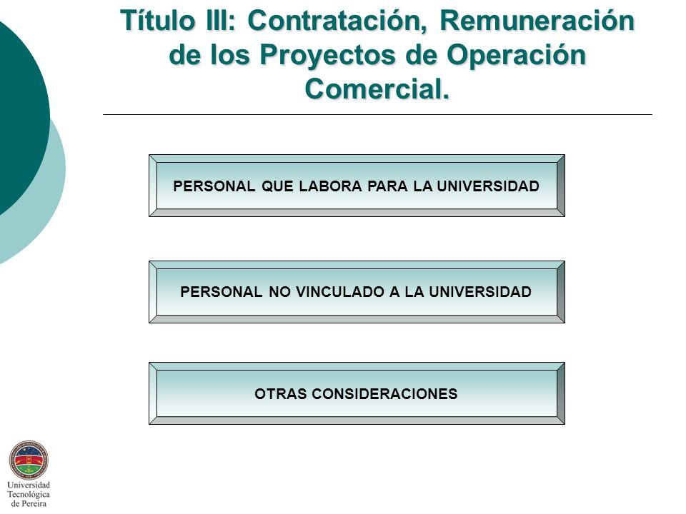 Título III: Contratación, Remuneración de los Proyectos de Operación Comercial.