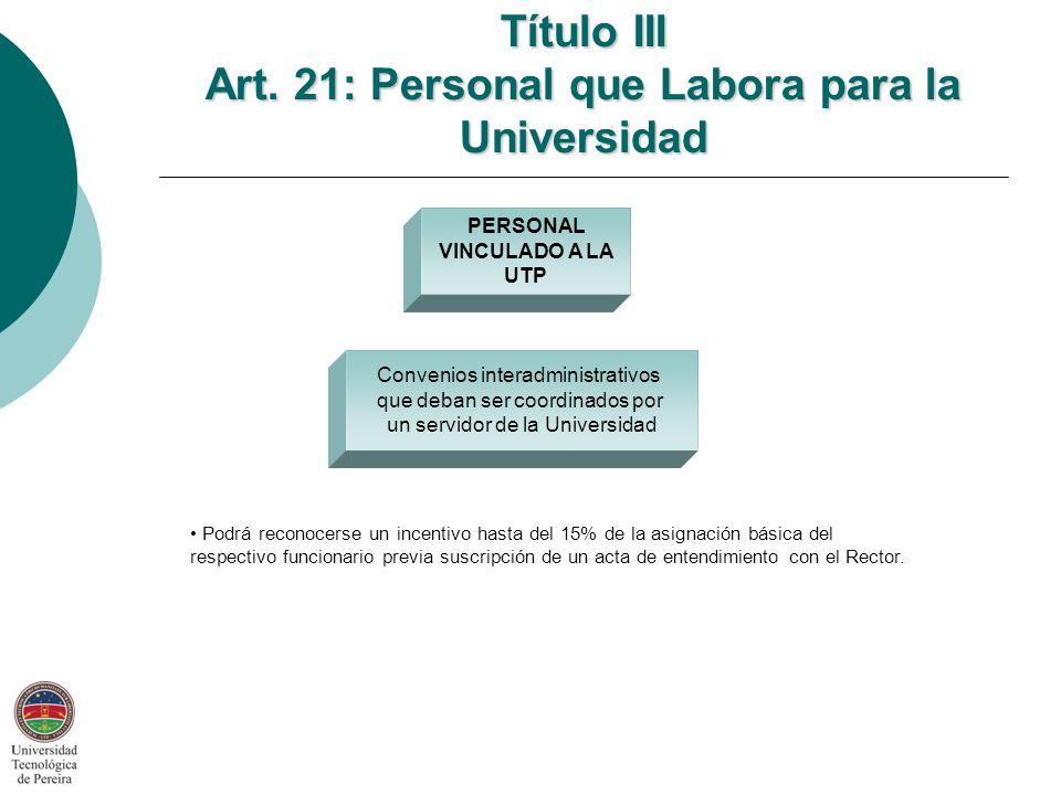 Título III Art. 21: Personal que Labora para la Universidad