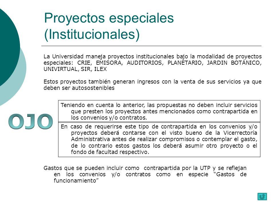 Proyectos especiales (Institucionales)