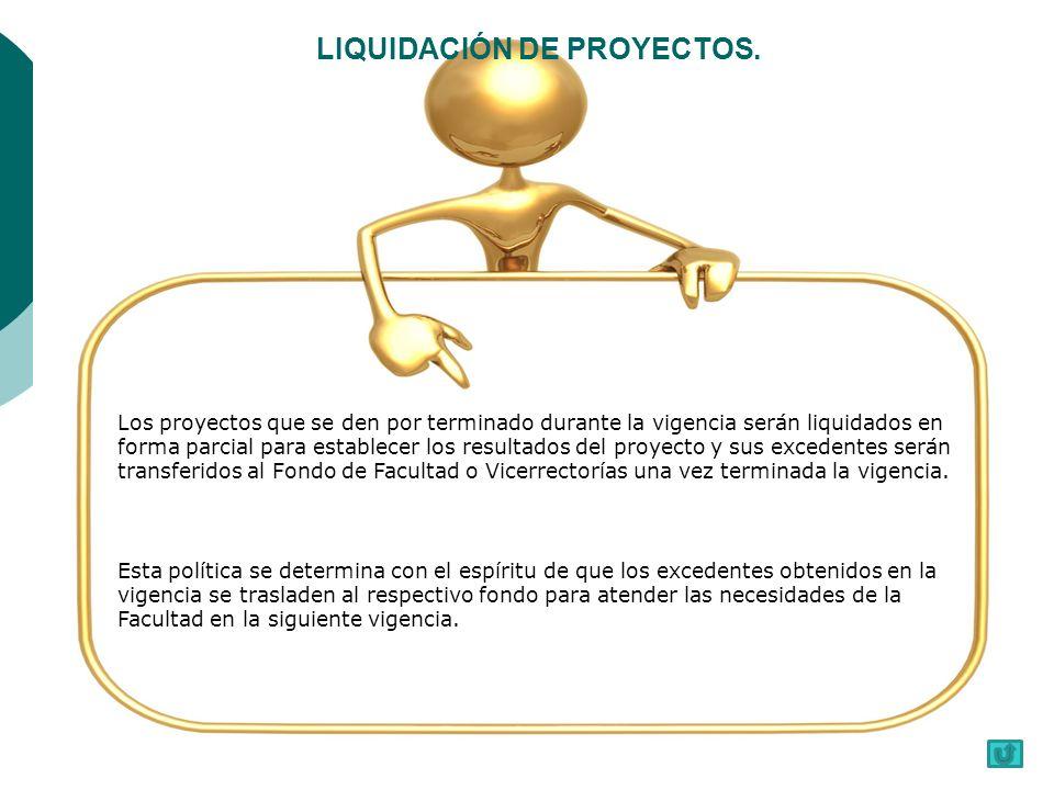 LIQUIDACIÓN DE PROYECTOS.