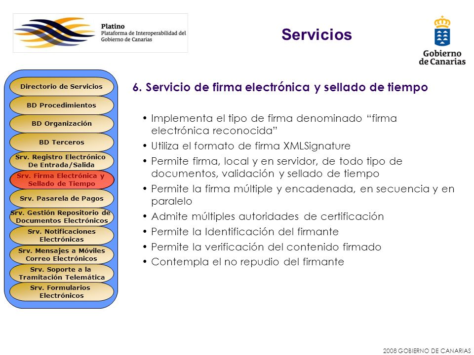 Servicios 6. Servicio de firma electrónica y sellado de tiempo