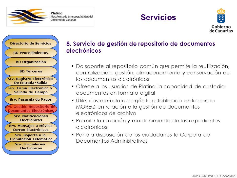 Servicios Directorio de Servicios. 8. Servicio de gestión de repositorio de documentos electrónicos.