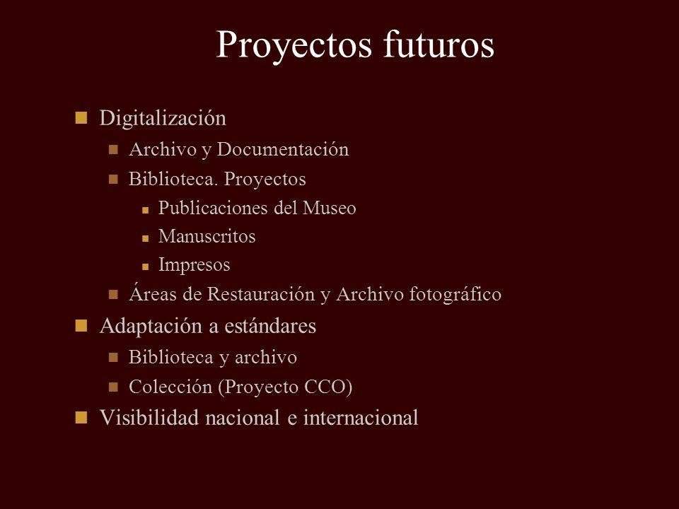 Proyectos futuros Digitalización Adaptación a estándares