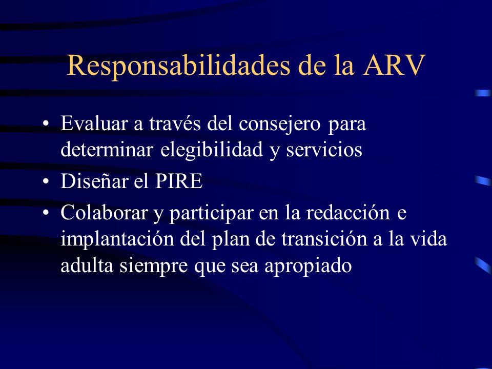 Responsabilidades de la ARV