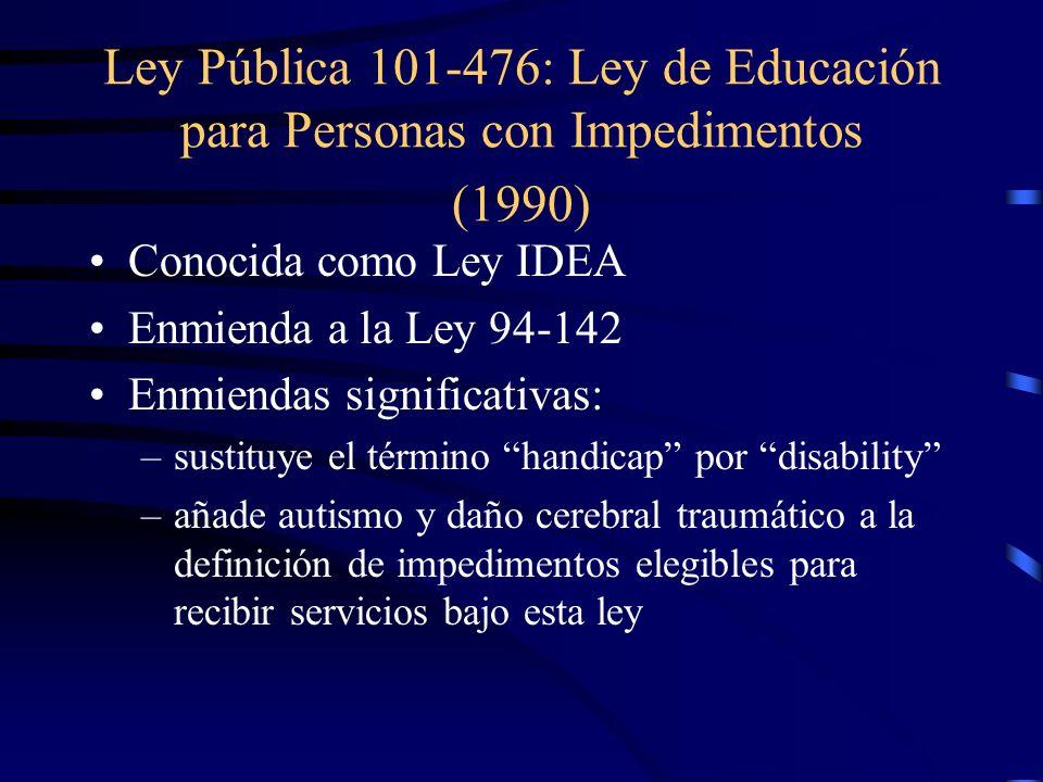 Ley Pública 101-476: Ley de Educación para Personas con Impedimentos (1990)