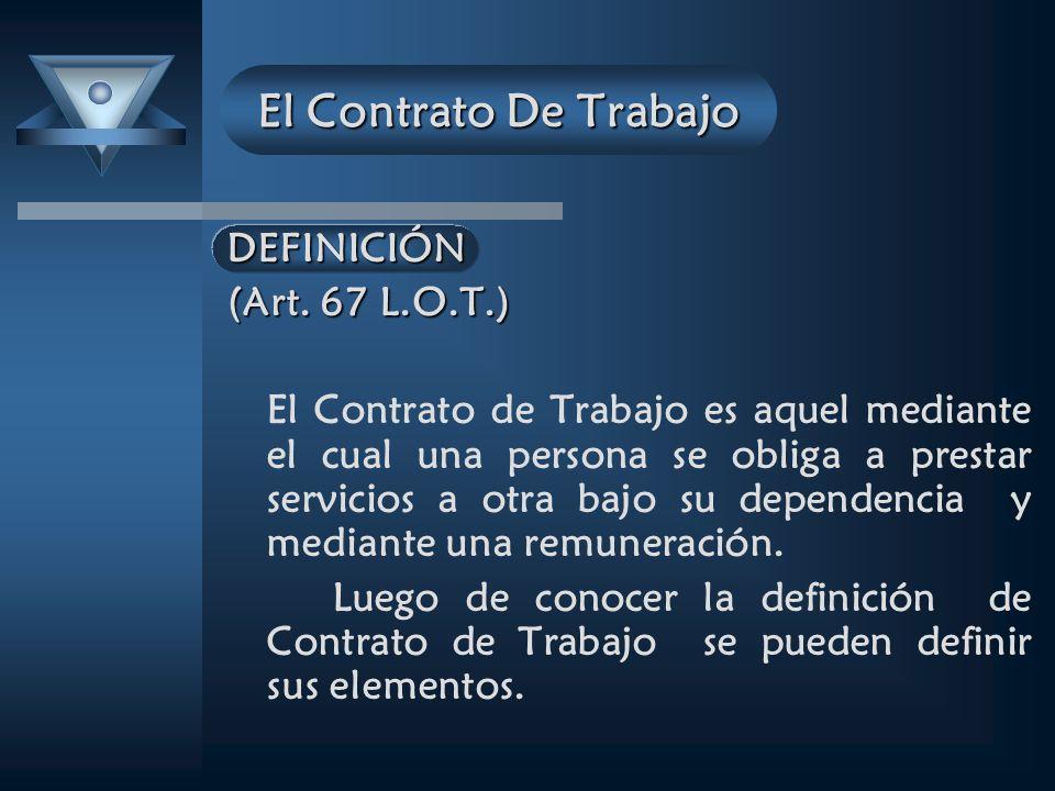 El Contrato De Trabajo DEFINICIÓN (Art. 67 L.O.T.)