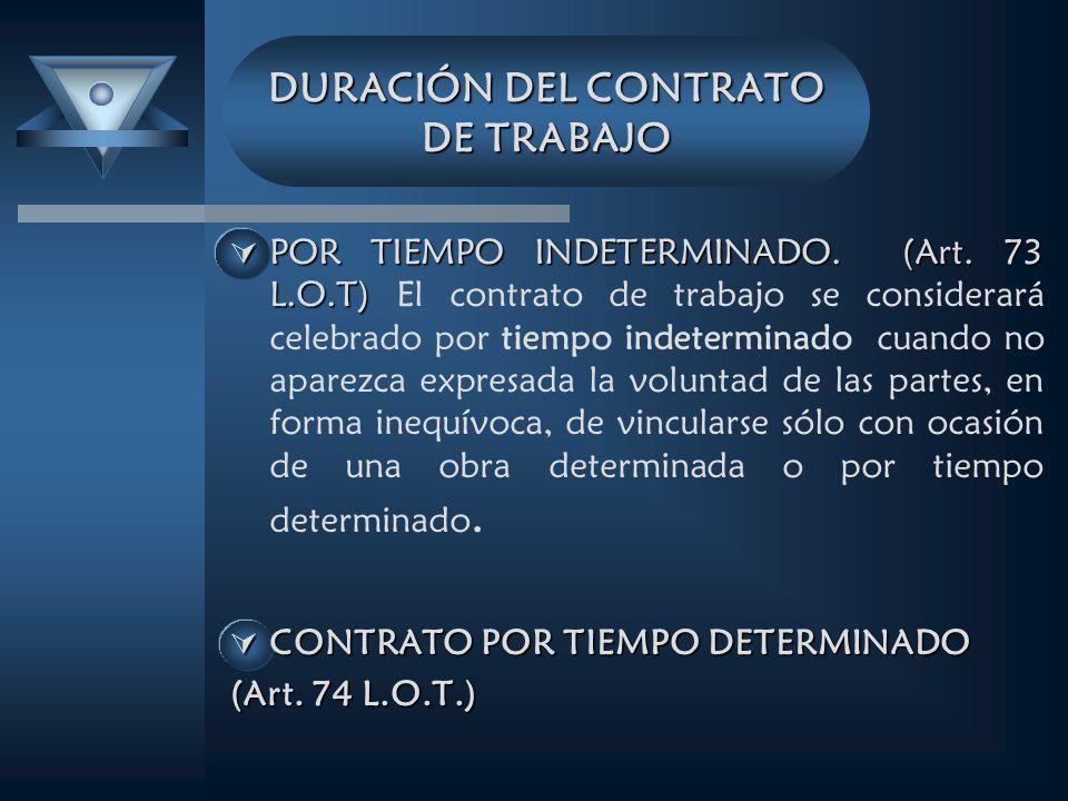DURACIÓN DEL CONTRATO DE TRABAJO