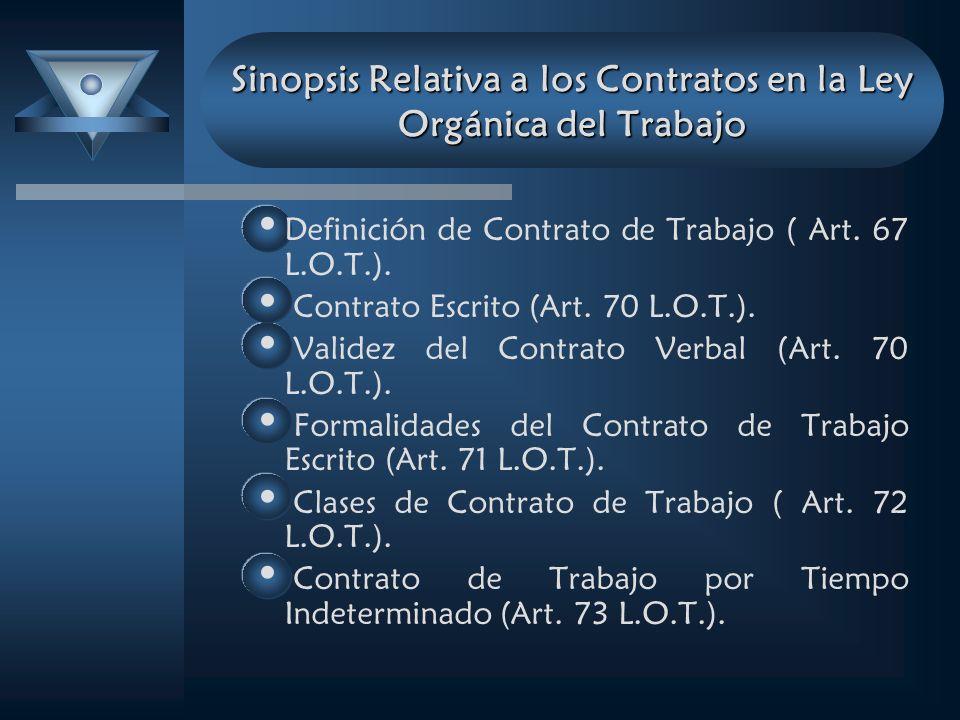 Sinopsis Relativa a los Contratos en la Ley Orgánica del Trabajo