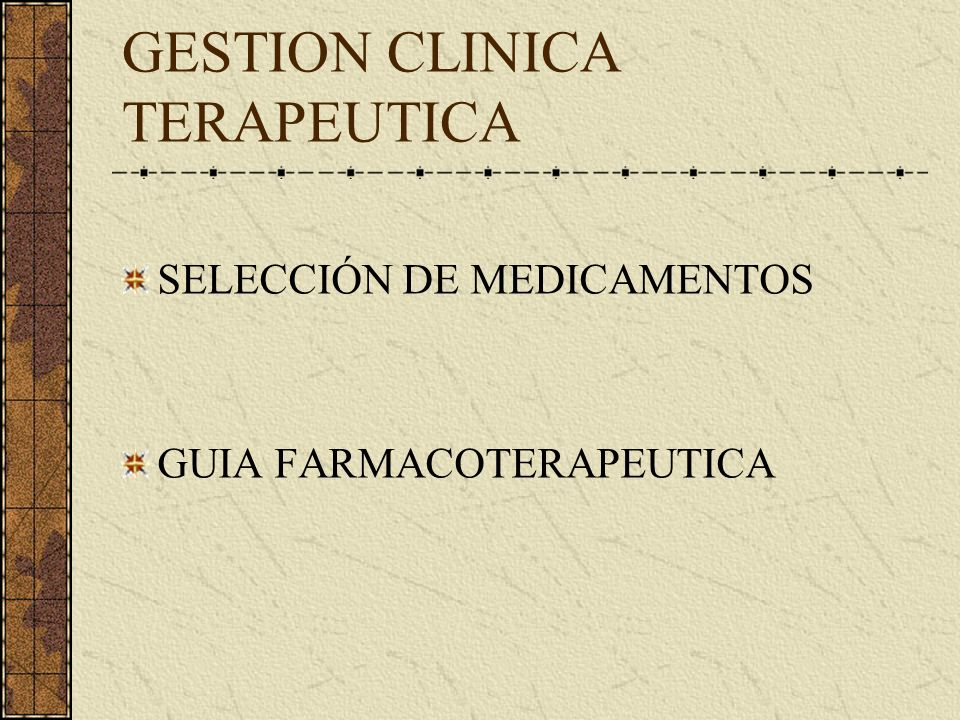 GESTION CLINICA TERAPEUTICA