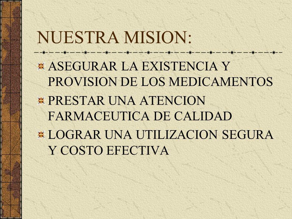 NUESTRA MISION: ASEGURAR LA EXISTENCIA Y PROVISION DE LOS MEDICAMENTOS