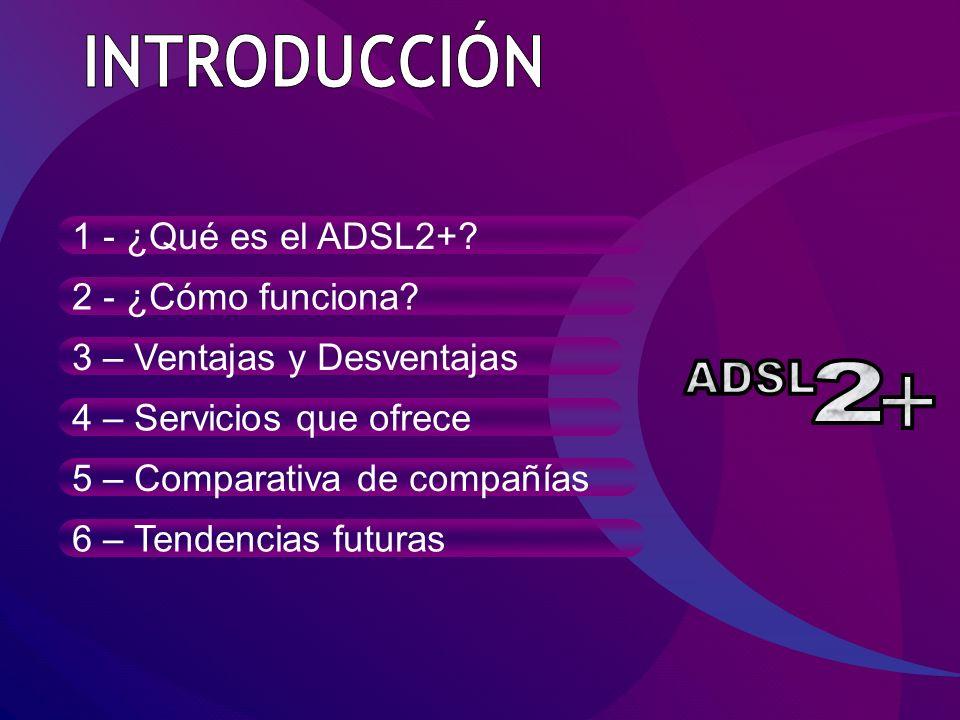 INTRODUCCIÓN ADSL 2 1 - ¿Qué es el ADSL2+ 2 - ¿Cómo funciona