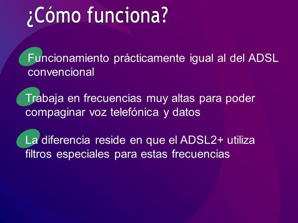 Funcionamiento prácticamente igual al del ADSL convencional