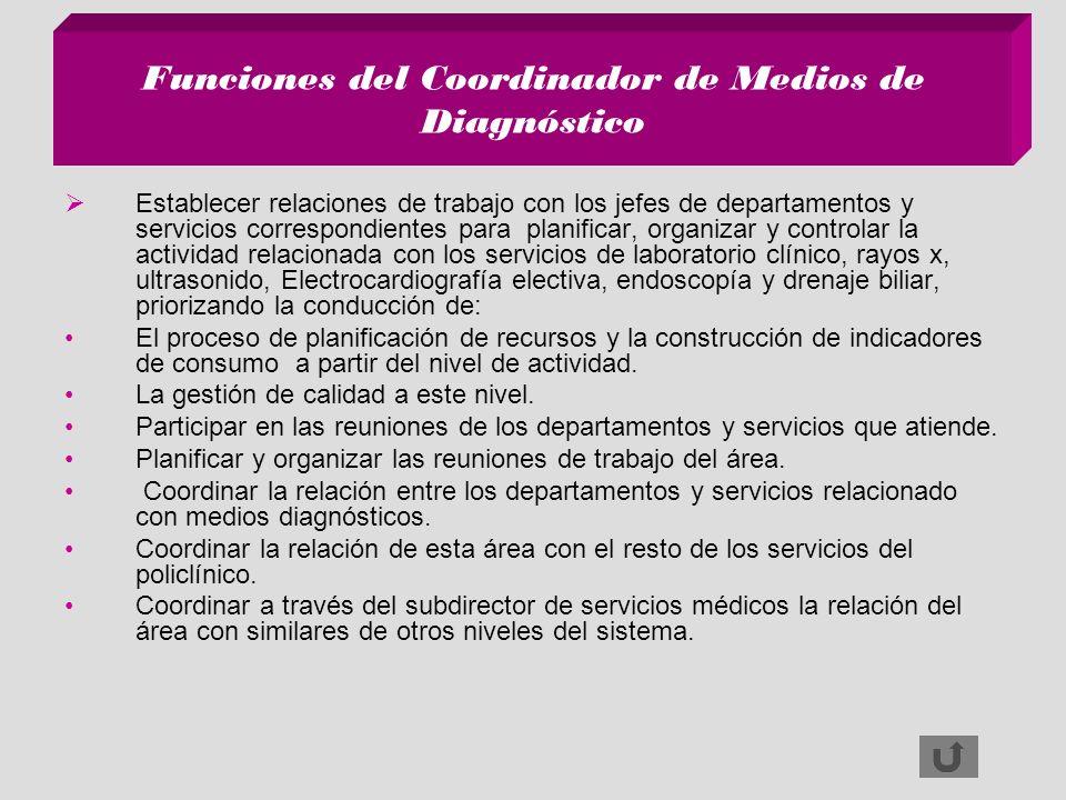 Funciones del Coordinador de Medios de Diagnóstico