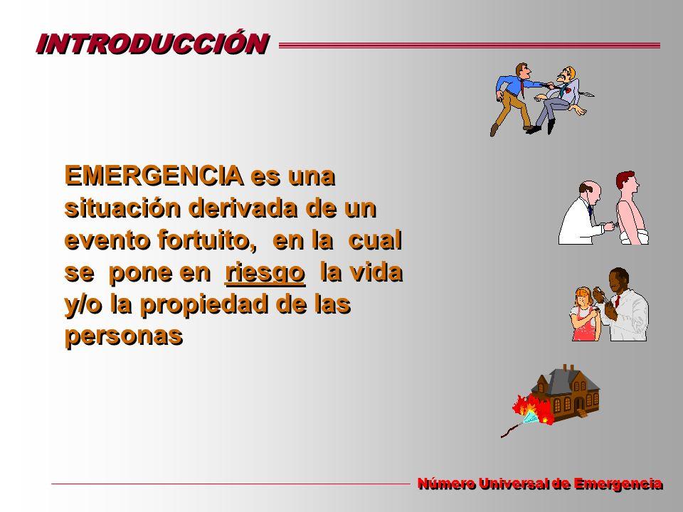 INTRODUCCIÓN EMERGENCIA es una situación derivada de un evento fortuito, en la cual se pone en riesgo la vida y/o la propiedad de las personas.