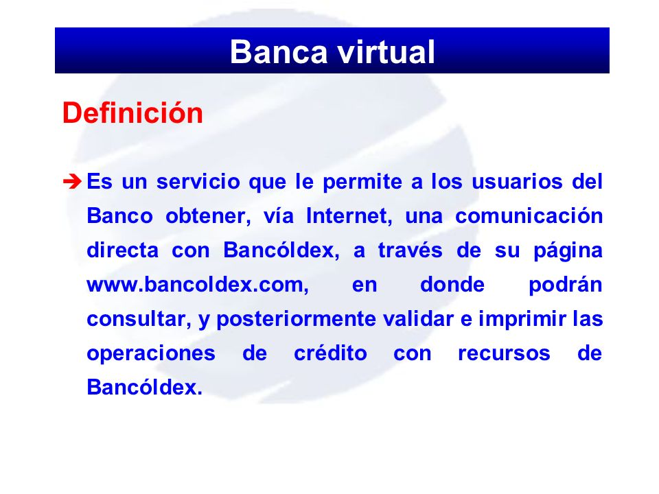 Banca virtual Definición