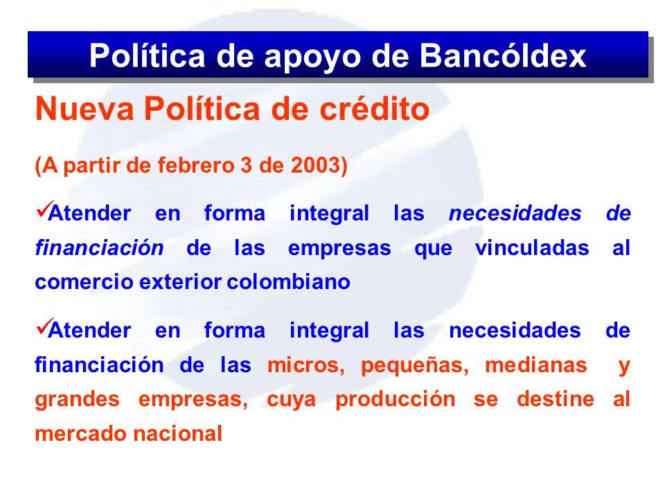 Política de apoyo de Bancóldex
