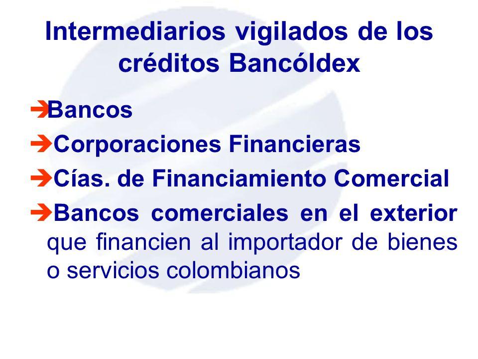 Intermediarios vigilados de los créditos Bancóldex