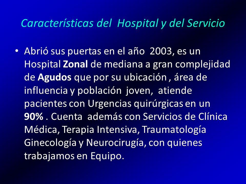 Características del Hospital y del Servicio