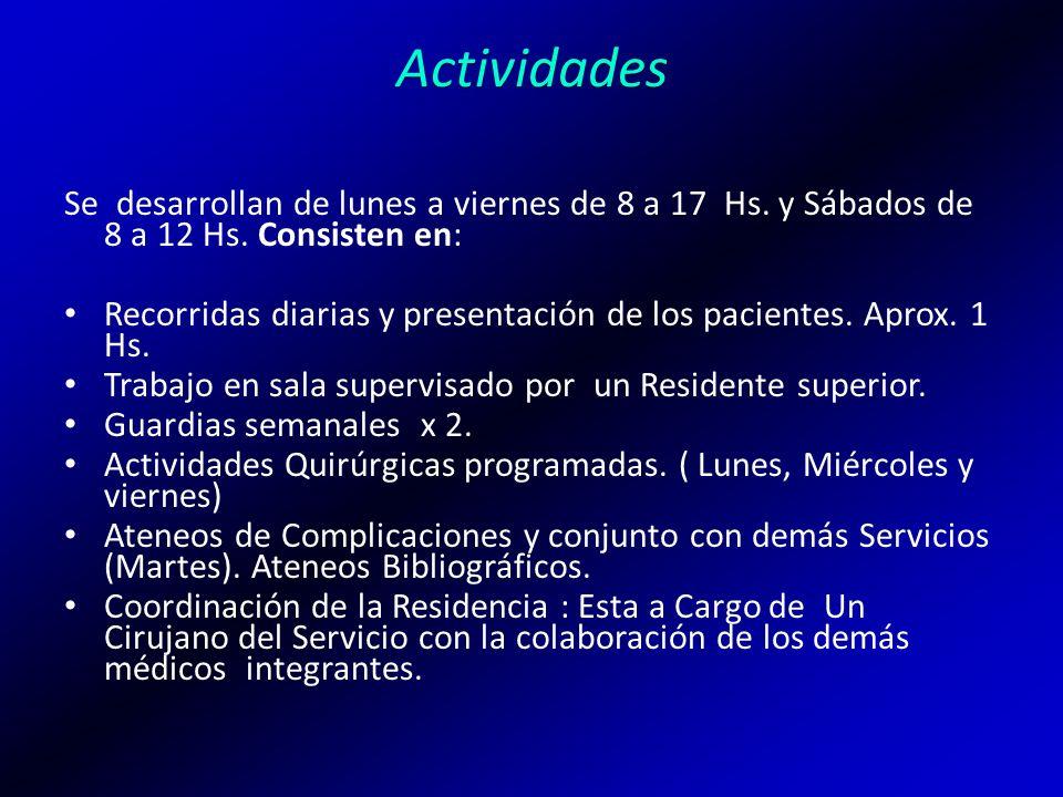 Actividades Se desarrollan de lunes a viernes de 8 a 17 Hs. y Sábados de 8 a 12 Hs. Consisten en:
