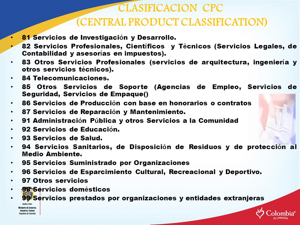 CLASIFICACION CPC (CENTRAL PRODUCT CLASSIFICATION)
