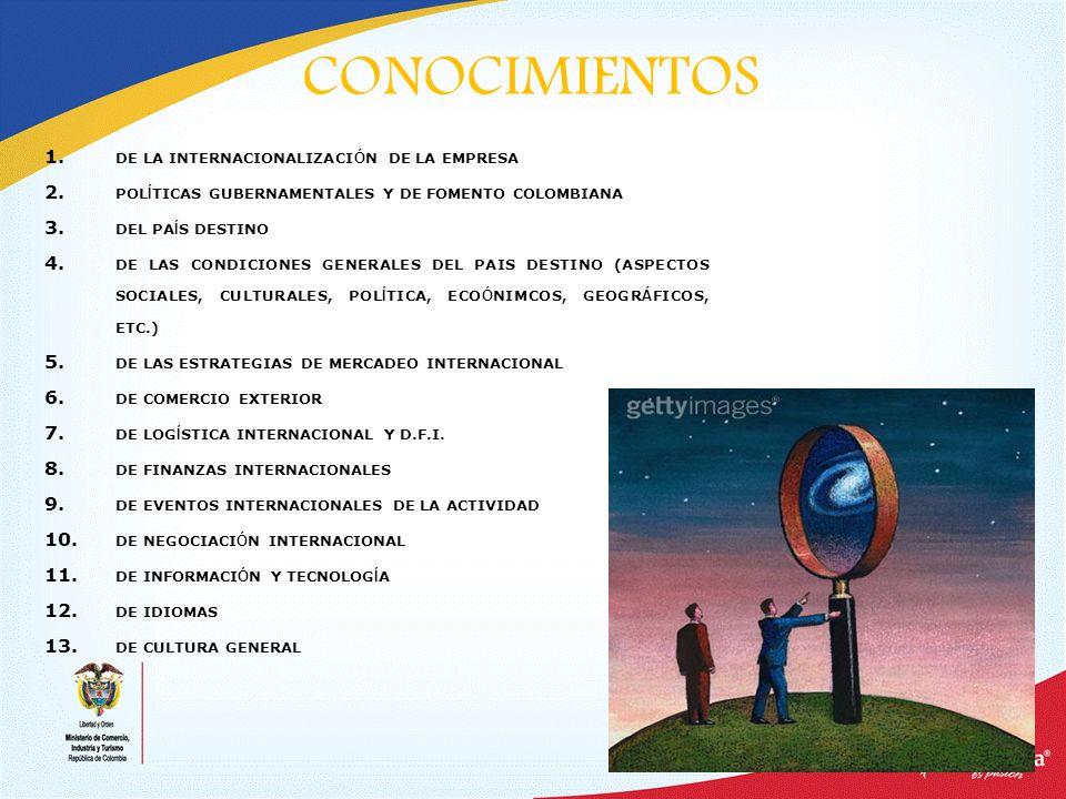 CONOCIMIENTOS DE LA INTERNACIONALIZACIÓN DE LA EMPRESA