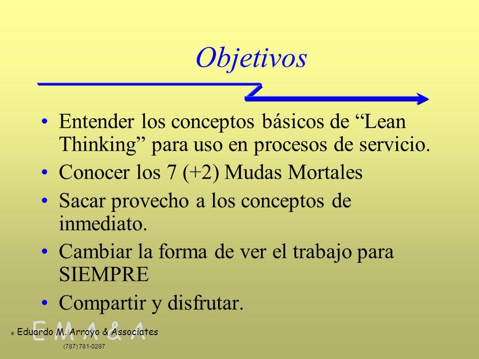 Objetivos Entender los conceptos básicos de Lean Thinking para uso en procesos de servicio. Conocer los 7 (+2) Mudas Mortales.
