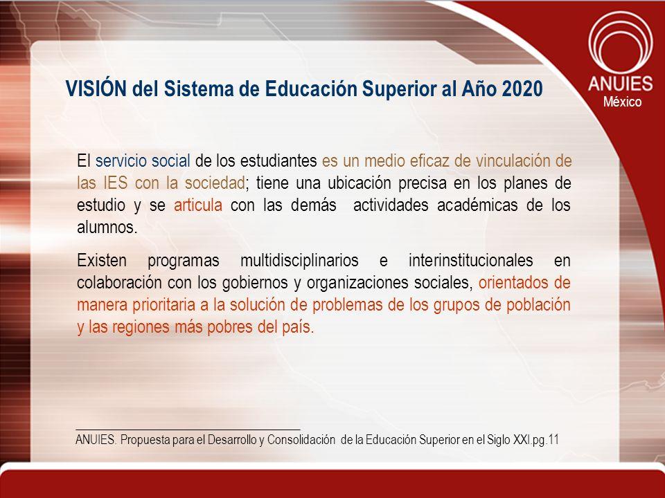 VISIÓN del Sistema de Educación Superior al Año 2020