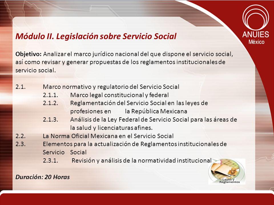Módulo II. Legislación sobre Servicio Social