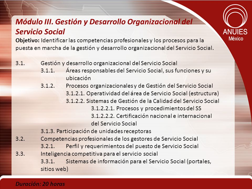 Módulo III. Gestión y Desarrollo Organizacional del Servicio Social