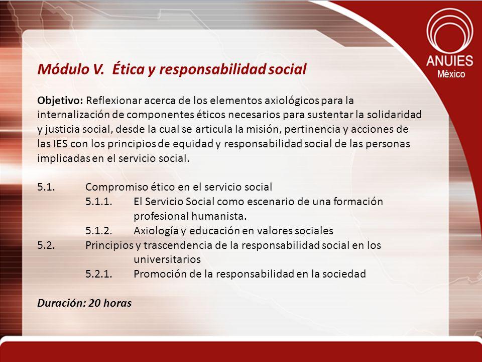 Módulo V. Ética y responsabilidad social