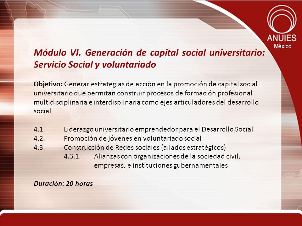 Módulo VI. Generación de capital social universitario: Servicio Social y voluntariado