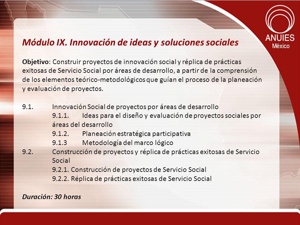 Módulo IX. Innovación de ideas y soluciones sociales