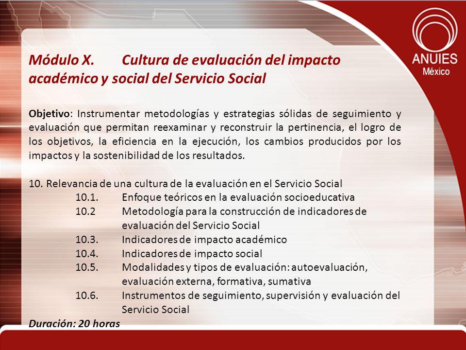 Módulo X. Cultura de evaluación del impacto académico y social del Servicio Social