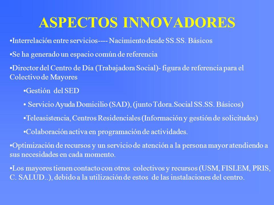 ASPECTOS INNOVADORES Interrelación entre servicios---- Nacimiento desde SS.SS. Básicos. Se ha generado un espacio común de referencia.