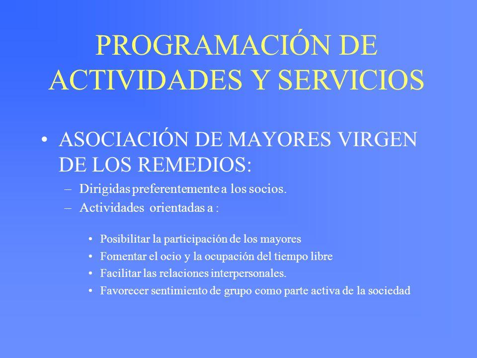 PROGRAMACIÓN DE ACTIVIDADES Y SERVICIOS