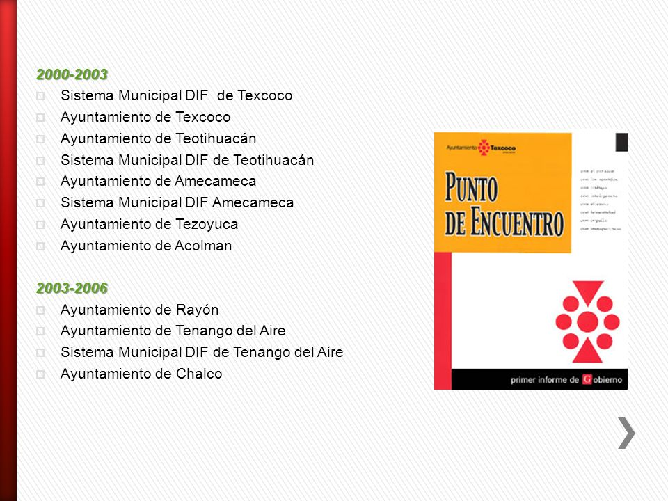 2000-2003 Sistema Municipal DIF de Texcoco. Ayuntamiento de Texcoco. Ayuntamiento de Teotihuacán.
