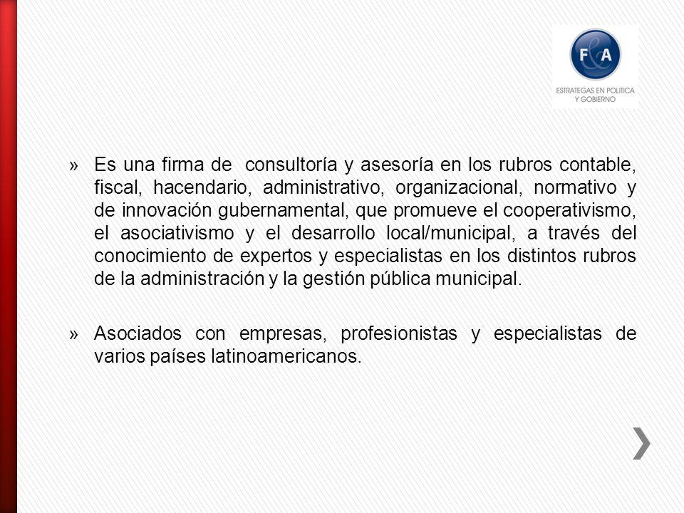 Es una firma de consultoría y asesoría en los rubros contable, fiscal, hacendario, administrativo, organizacional, normativo y de innovación gubernamental, que promueve el cooperativismo, el asociativismo y el desarrollo local/municipal, a través del conocimiento de expertos y especialistas en los distintos rubros de la administración y la gestión pública municipal.